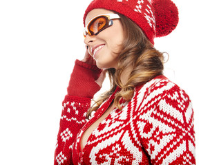 Woman with ski goggles isolated on white