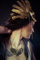 Viking, Warrior woman with gold mask, long hair brunette. Long h