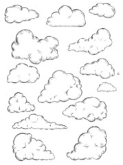 vector set of sketch clouds