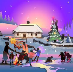 Christmas card. Happy people celebrate Christmas in the Ukrainia