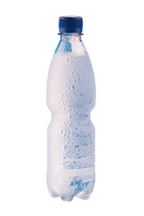 Misted plastic bottle of water with water drops on the surface