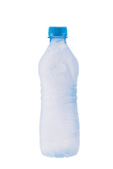 Misted plastic bottle with frozen water inside