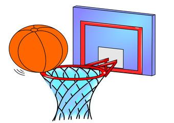 Basketball hoop and an orange ball