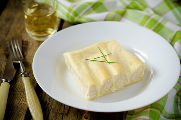 cannelloni with Turkey in white sauce