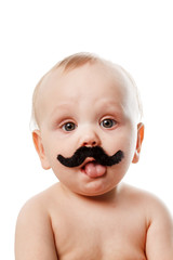 cute baby with moustaches