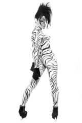 Nude Woman Body Painted as a Zebra