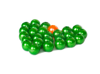 Heart shape of green and orange beads