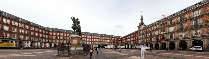 Panorama of picturesque Plaza Mayor in Madrid, Spain
