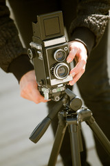 taking pictures with old vintage camera