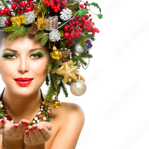 Beautiful New Year Holiday Christmas Tree Hairstyle Stock Photo And