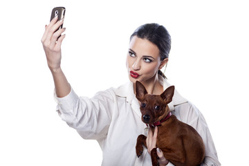 Girl and dog make themselves self-portrait by phone