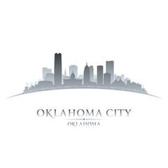 Oklahoma city silhouette white background