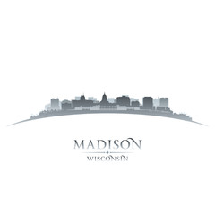 Wall Mural - Madison Wisconsin city silhouette white background