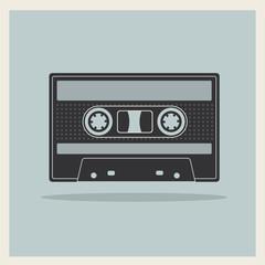 Audio  Compact Cassette Tape on Retro Background