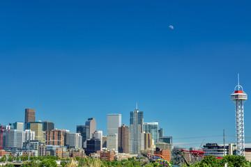 Denver Colorado skyline with moon