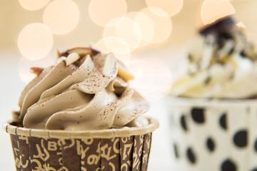 Tasty cupcake on lights background