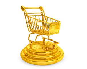 Best Sellers concept. Golden Shopping Cart
