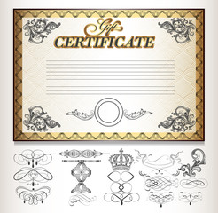 Gift certificate set  with decorative calligraphic elements