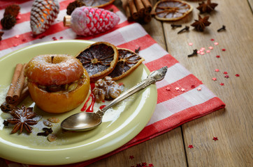 Christmas background of Homemade oven baked stuffed apples