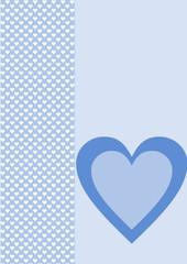 Karte Hintergrund weiße Herzen ein blaues Herz