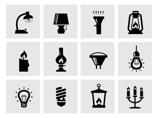 vector various lighting icons of lamps on white