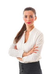 Attractive Smiling Business Woman with crossed arms on white bac