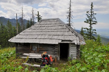 Old  hunter's hut in the Carpathians