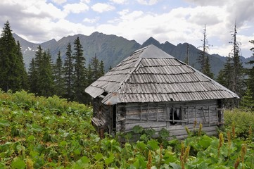 Old  hunter's hut in the mountains