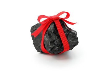 coal with red ribbon