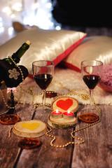 Romantic Valentine's evening in a wooden hut