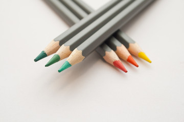 Set of coloring pencils on a white background