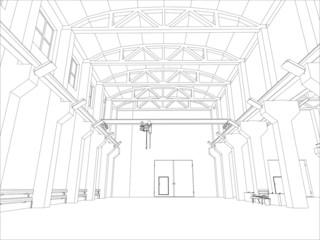Factory environment. Wire-frame. Vector format