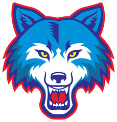 angry wolf head mascot