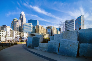 Fotomurales - december 27, 2013, charlotte, nc - view of charlotte skyline at