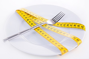 plate with fork and meter