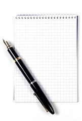 Blank notebook and pen