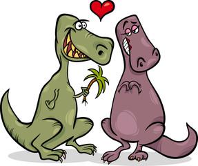 dinos in love cartoon illustration