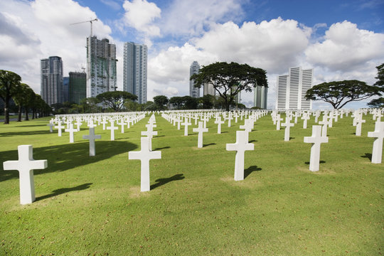 The American Memorial Cemetery with buildings in background, Manila, Philippines