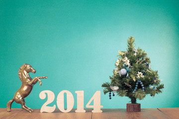 Greeting card with date, New Year tree and horse