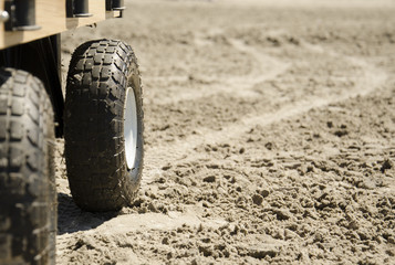 A wagon on the sand