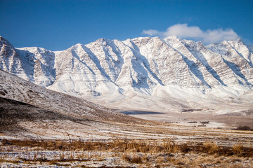 Snow covered mountains in central Iran, near Yazd