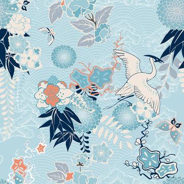 Kimono background with crane and flowers