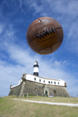Soccer Brazil Salvador Lighthouse with Vintage Football