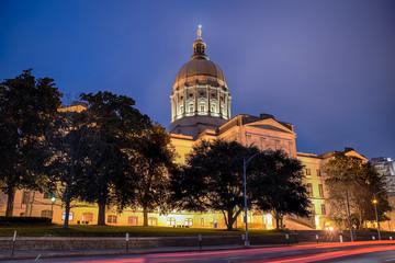 Georgia state capitol building in Atlanta at night