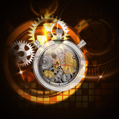 Mechanical clock stop watch on abstract background,