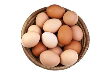 Brown eggs in a woven bowl