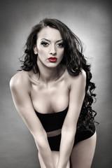 Sexy brunette in black lingerie