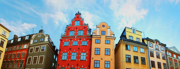 Red and Yellow iconic buildings on Stortorget in Stockholm