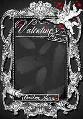 Vintage Blackboard for Valentine 's Menu