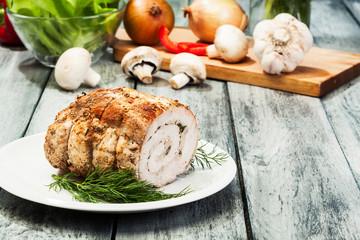 Pork lion roll stuffed with mushrooms